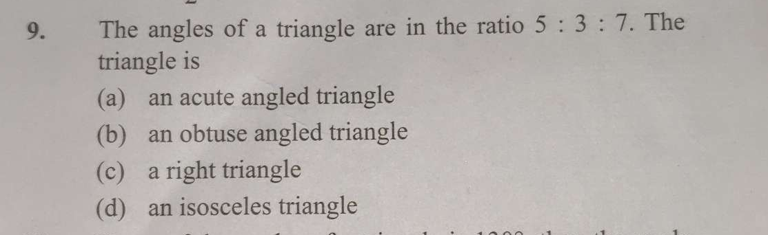 Check here step-by-step solution of 'The angles of a triangle are in the ratio 5: 3: 7. The triangle is' questions at Instasolv!