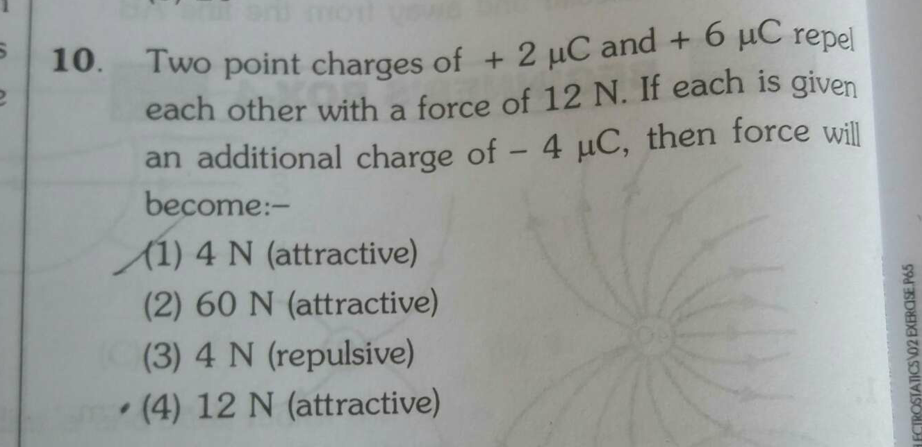 Two point charges of + 2 uC and + 6 uC repel each other with a force of 12 N. If each is given an additional charge of - 4 uC, then force will become