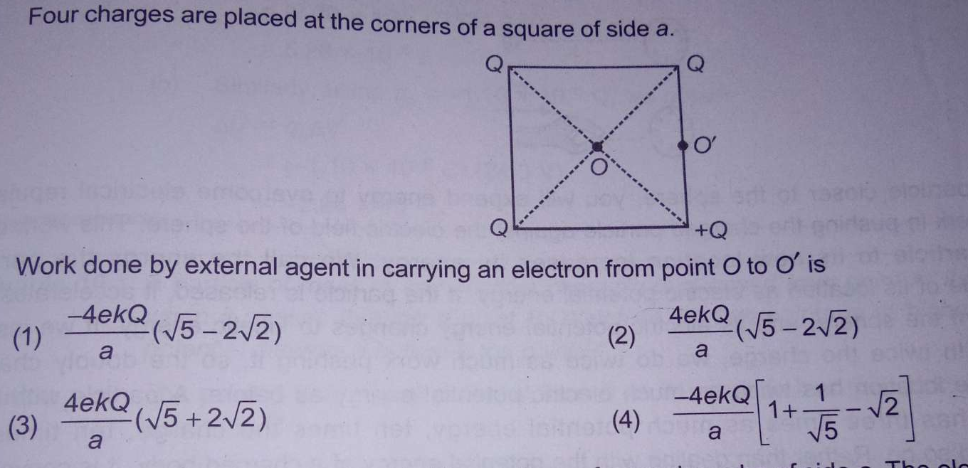 Four charges are placed at the corners of a square of side a. Work done by external agent in carrying an electron from point O to O' is