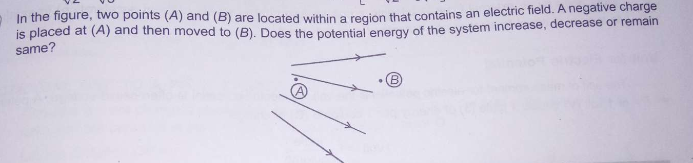 In the figure two points (A)and(B) are located within a region that contains an electric field A negative charge is placed at (A) and then moved to (B) does the potential energy of the system increase decrease or remain same