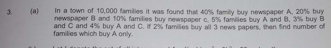 In a town of 10,000 families it was found that 40% family buy newspaper A, 20% buy newspaper B and 10% families buy newspaper c, 5% families buy A and B, 3% buy Band
