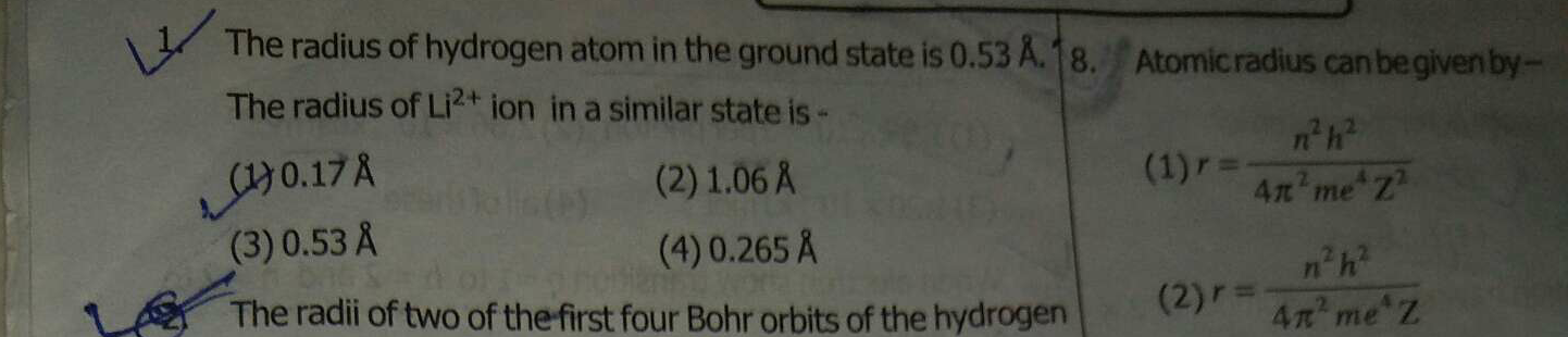 The radius of hydrogen atom in the ground state is 0.53 8. The radius of Li2+ ion in a similar state is