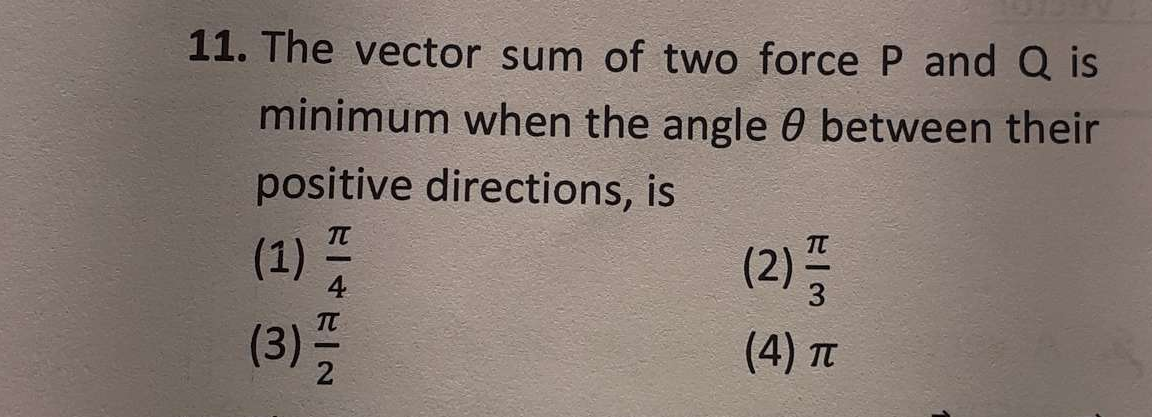 Check here step-by-step solution of 'The vector sum of two force P and Q is minimum when the angle θ between their positive directions, is' question at Instasolv!