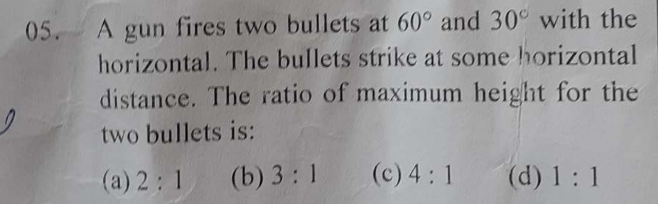 A gun fires two bullets at 60∘ and 30∘ with the horizontal. The bullets strike at some horizontal distance. The ratio of maximum height for the two bullets is