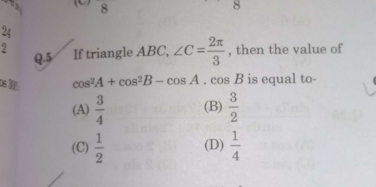Check here step-by-step solution of 'If triangle ABC, ∠ C = 2 π 3, then the value of cos^2 A + cos^2 B − cos A cos B is equal to' question at Instasolv!
