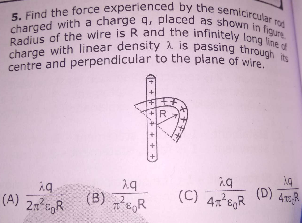 Find the force experienced by the semicircular rod charged with a charge q, placed as shown in figure. Radius of the wire is R and the infinitely long line of charge