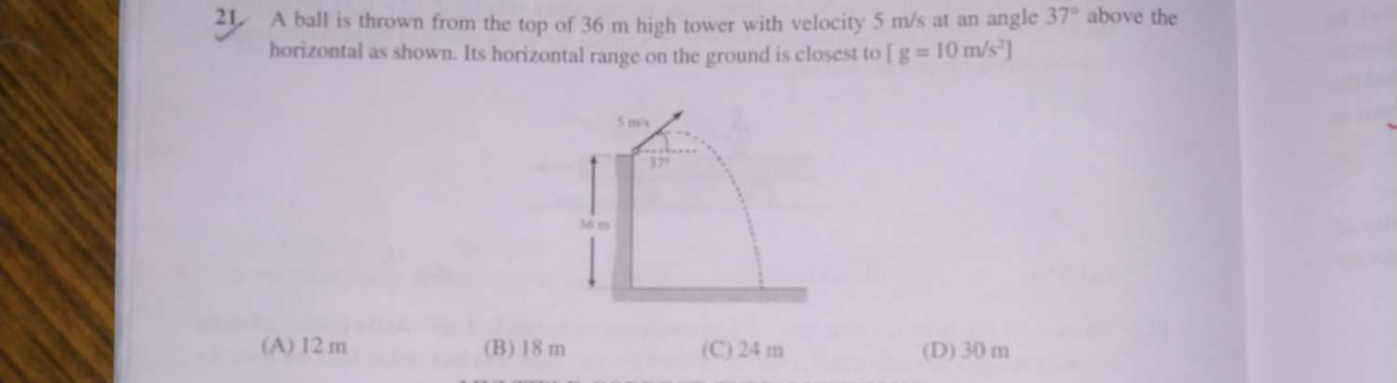 A ball is thrown from the top of 36m high tower with velocity 5m/s at an angle 37∘ above the horizontal as shown. Its horizontal range on the ground is closest to [g