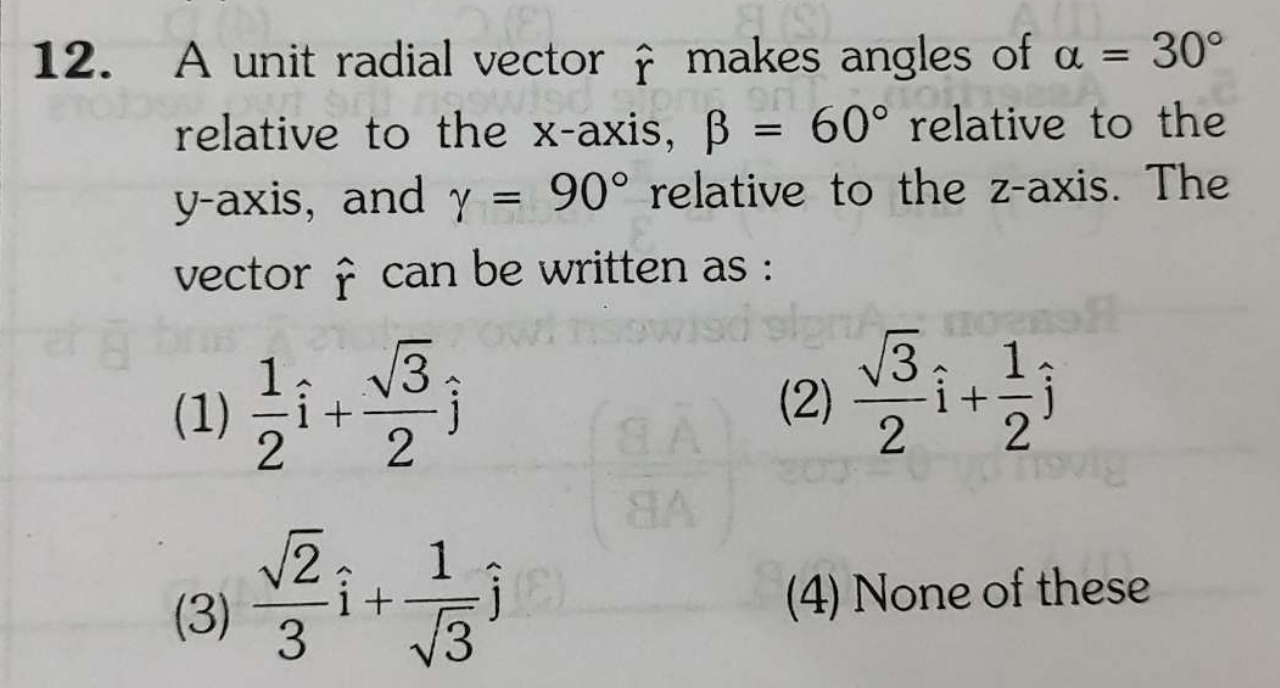 A unit radial vector r^ makes angles of α=30∘ relative to the x -axis, β=60∘ relative to the y-axis, and γ=90∘ relative to the z-axis. The vector r^ can be written a