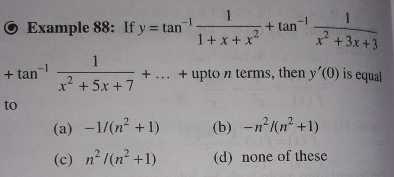 Check here step-by-step solution of 'If y=tan−111+x+x2+tan−11x2+3x+3 +tan−11x2+5x+7+…+ upto n terms, then y′ ′(0) is equal to' question at Instasolv!